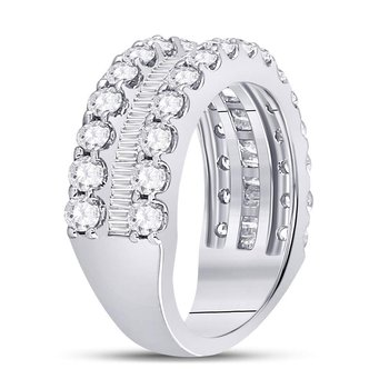 14kt White Gold Womens Round Baguette Diamond Triple Row Band Ring 2-5/8 Cttw
