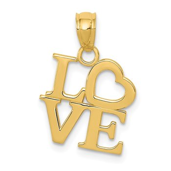 14k Gold Polished LOVE Pendant