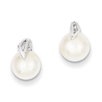 14k White Gold 7-8mm Button Freshwater Cultured Pearl Post Earrings