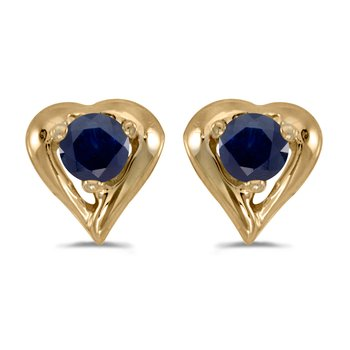 10k Yellow Gold Round Sapphire Heart Earrings
