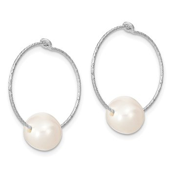 Sterling Silver Rhodium-plated 8-9mm Round FWC Pearl Hoop Earrings