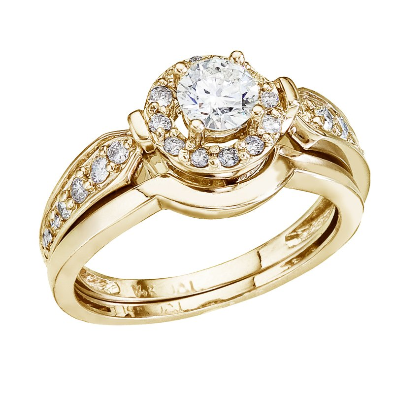 Color Merchants 14K Yellow Gold .75 Ct Round Diamond Band Bridal Ring Set