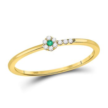10kt Yellow Gold Womens Round Emerald Diamond Stackable Band Ring 1/20 Cttw