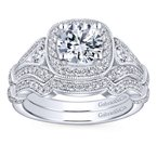 Gabriel Bridal Vintage 14K White Gold Cushion Halo Round Diamond Engagement Ring