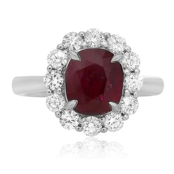 Platinum Ruby Shared Prong Halo Ring