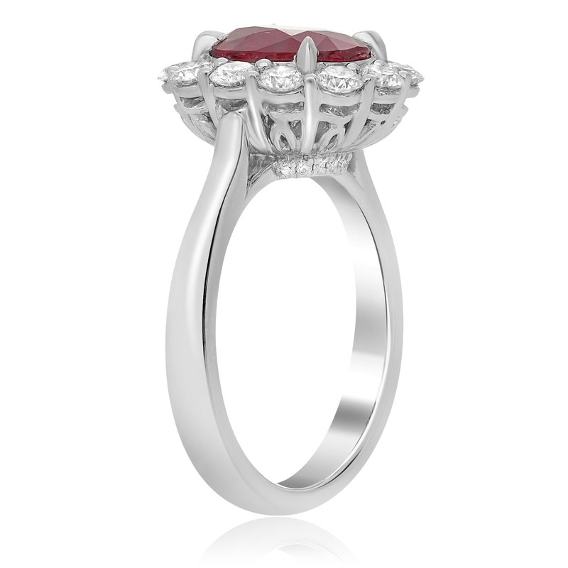 Roman & Jules Platinum Ruby Shared Prong Halo Ring