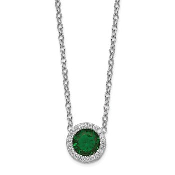 Cheryl M Sterling Silver Glass Simulated Emerald & CZ Pendant Necklace