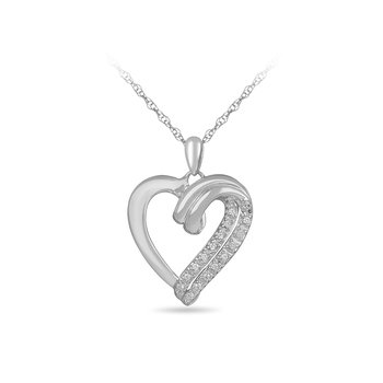925 SS & Diamond Heart Pendant