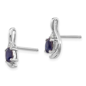 14k White Gold Sapphire and Diamond Post Earrings