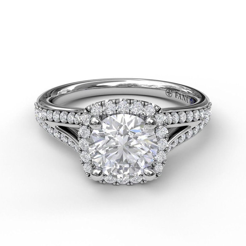 Fana Classic Diamond Halo Engagement Ring with a Subtle Split Band