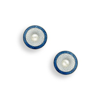 Blue Round Stud Earrings.Sterling Silver-Freshwater Pearls