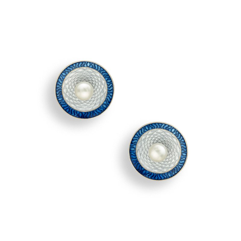 Nicole Barr Designs Blue Round Stud Earrings.Sterling Silver-Freshwater Pearls