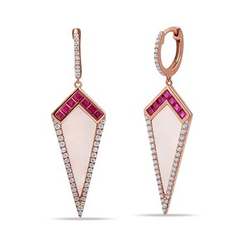 14K triangle shape drop earrings with 96 diamonds 0.50ct, 14 rubies 0.70ct & 2 white agate 3.72ct