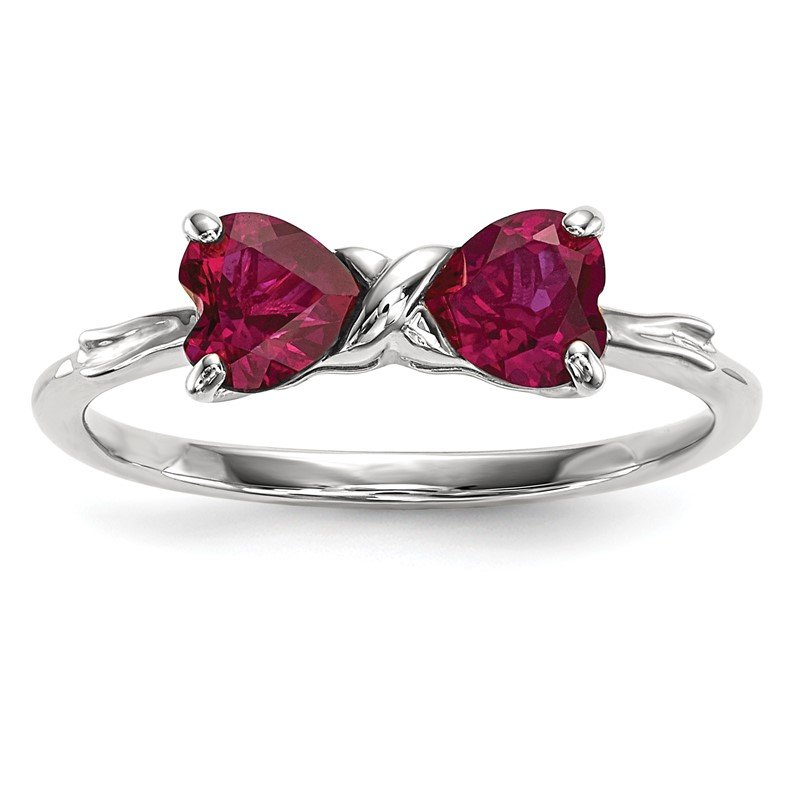 Quality Gold 14k White Gold Polished Created Ruby Bow Ring