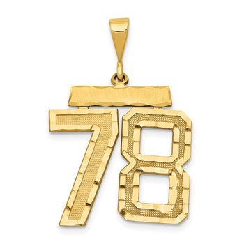 14k Large Diamond-cut Number 78 Charm
