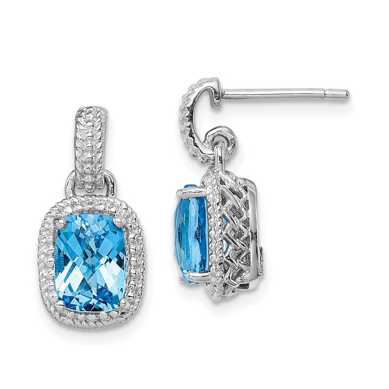 Arizona Diamond Center Collection Sterling Silver Rhodium-plated Blue Topaz Earrings