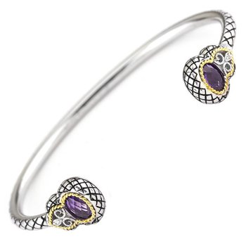 18kt and Sterling Silver Diamond and Amethyst Bangle