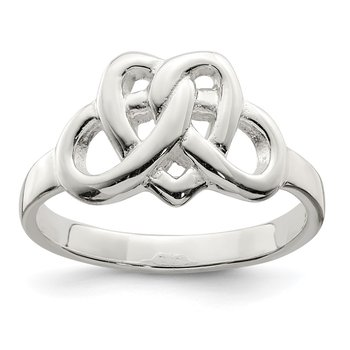 Sterling Silver Fancy Celtic Heart Pattern Woven Ring