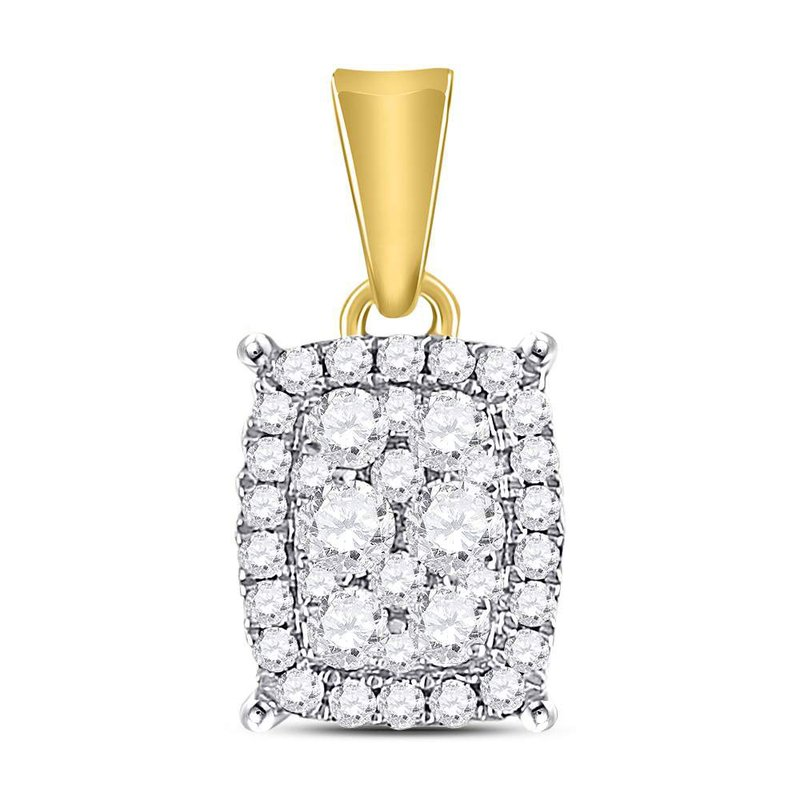 Gold-N-Diamonds, Inc. (Atlanta) 14kt Yellow Gold Womens Round Diamond Vertical Rectangle Cluster Pendant 1/4 Cttw