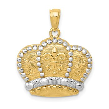 14k and Rhodium Crown Pendant