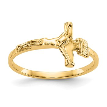 14k Childs Polished Crucifix Ring