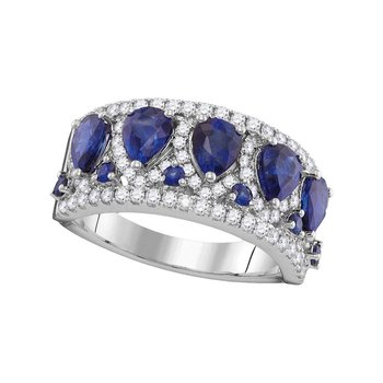 18kt White Gold Womens Pear Blue Sapphire Diamond Band Ring 1/2 Cttw