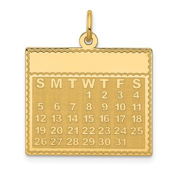 14k Wednesday the First Day Calendar Pendant