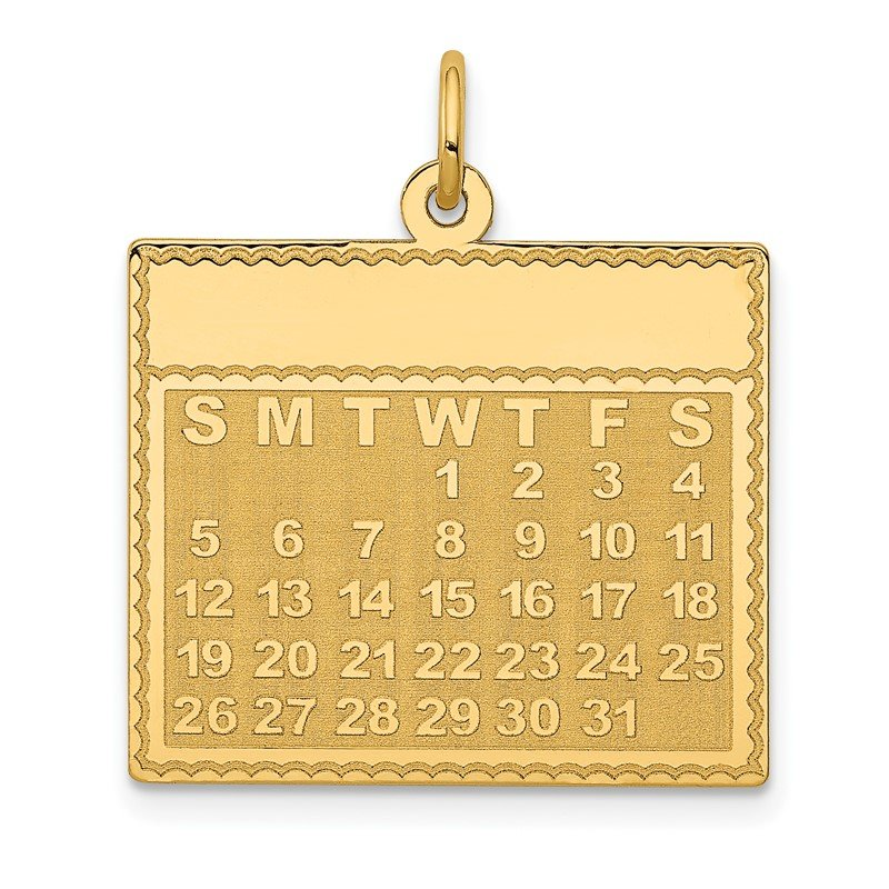 Quality Gold 14k Wednesday the First Day Calendar Pendant