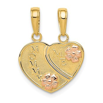 14k Two-tone MOMMY-ME Break-apart Heart Pendant