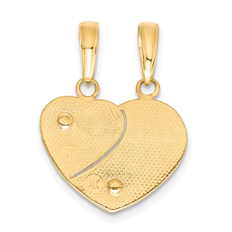 Quality Gold 14k Two-tone MOMMY-ME Break-apart Heart Pendant