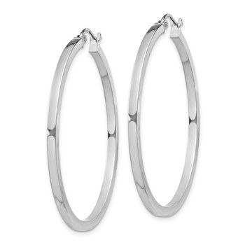 Sterling Silver Rhodium-plated 2x40mm Square Tube Hoop Earrings