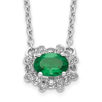 14k White Gold Diamond and Oval Emerald 18 inch Necklace