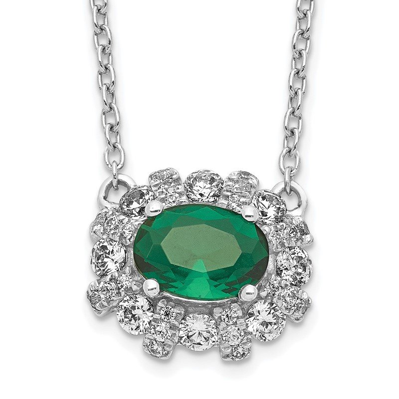 Quality Gold 14k White Gold Diamond and Oval Emerald 18 inch Necklace