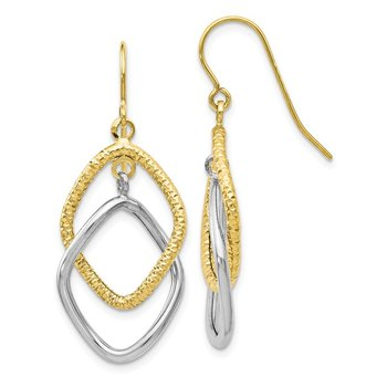 Leslie's 10K Two-tone Shepherd Hook Dangle Earrings
