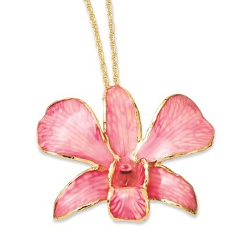24K Gold-trim Lacquer Dipped Pink Dendrobium Orchid 20in Gold-tone Necklace