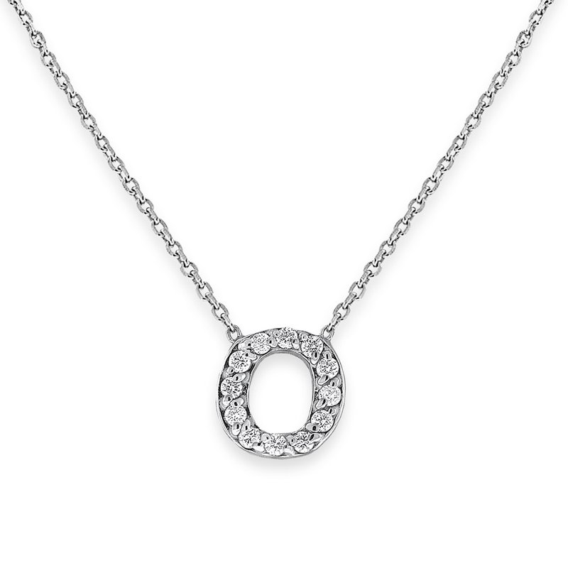 KC Designs Diamond Bitty Block Initial O Necklace