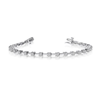 14K White Gold 2 Ct. Diamond Petite Bar Tennis Bracelet