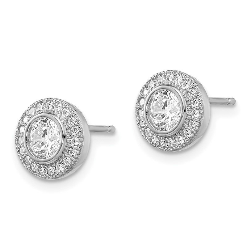 Quality Gold SS Rhodium-Plated CZ Brilliant Embers Post Earrings
