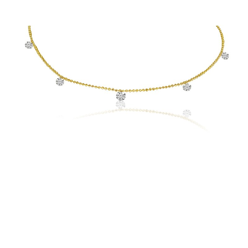 "Color Merchants 14K Yellow Gold 0.55 Diamond By The Yard Necklace with 18"" Chain"