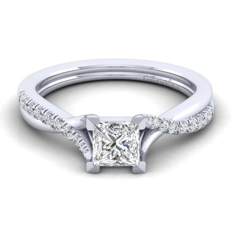 Gabriel Bridal Top Picks 14K White Gold Princess Cut Diamond Engagement Ring