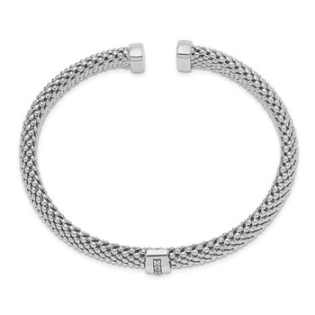 Sterling Silver Polished Rhodium-plated CZ Cuff Bangle