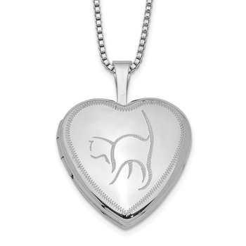 Sterling Silver Rhodium-plated 16mm Cat Heart Locket Necklace