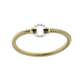 18KT GOLD BANGLE WITH CIRCLE STATIONS