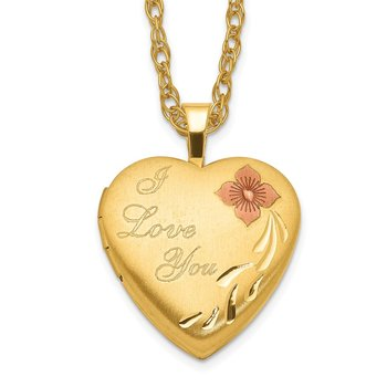 1/20 Gold Filled 16mm Enameled Flower I Love You Heart Locket Necklace