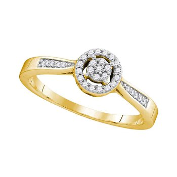 10kt Yellow Gold Womens Round Diamond Cluster Bridal Wedding Engagement Ring 1/8 Cttw