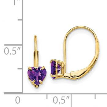 14k 5mm Heart Amethyst Leverback Earrings