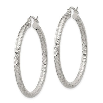 Sterling Silver Polished Diamond-cut Hinged Hoop Earrings