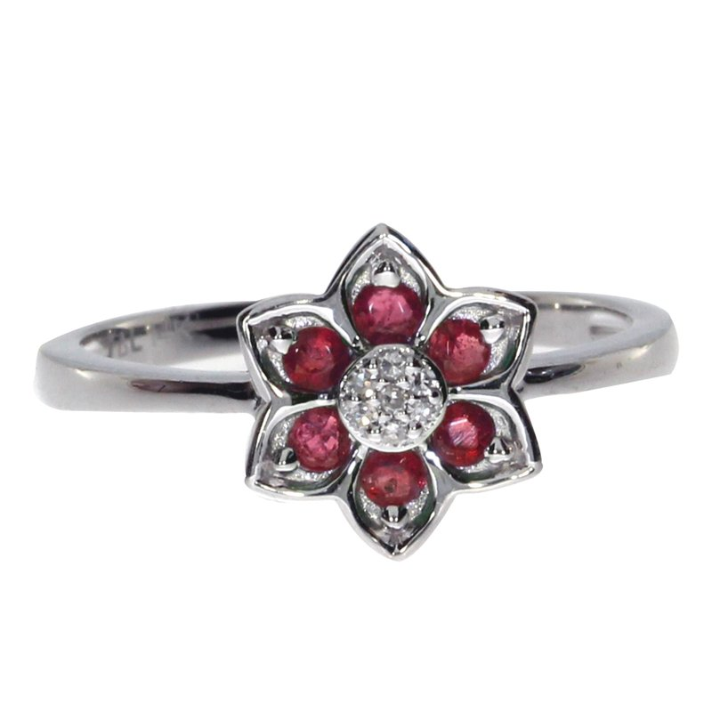 Color Merchants 14k White Gold Ruby Star Ring