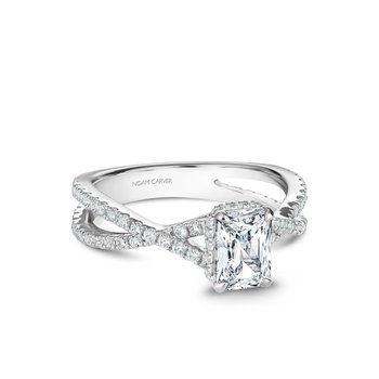 Emerald Cut Side-Stone Solitaire Engagement Ring