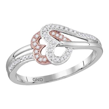 10kt Two-tone Rose Gold Womens Round Diamond Heart Love Ring 1/6 Cttw
